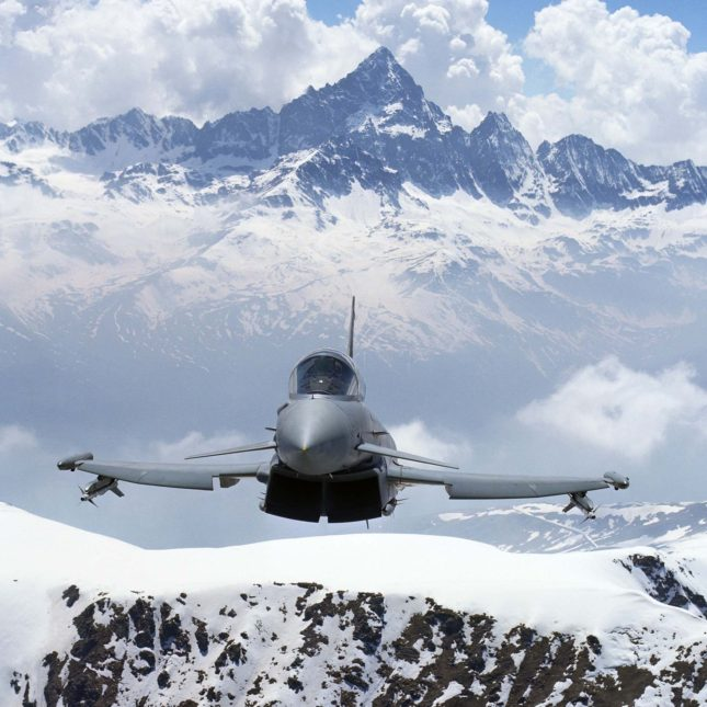 Italian Eurofighter over the Alps in Italy