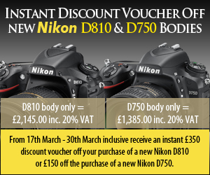 Instant Discount Voucher off new Nikon D810 & new Nikon D750 bodies